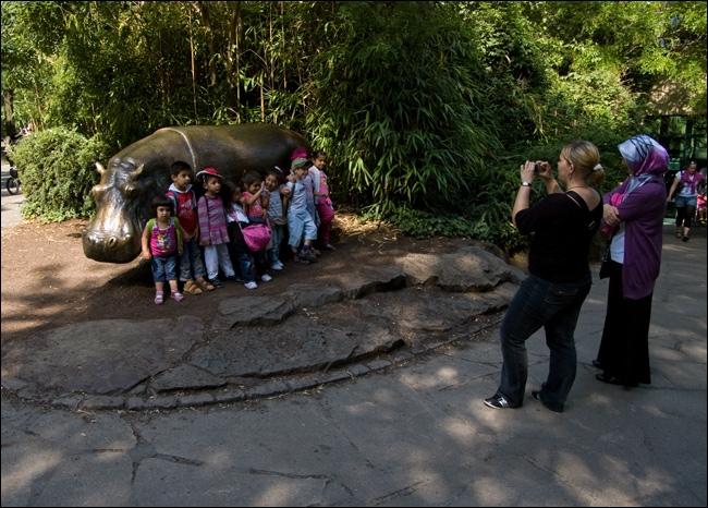 Дети с бегемотом